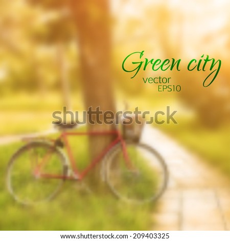 vector illustration EPS 10. Vintage bicycle waiting near tree in the park. blurred outdoor background - stock vector