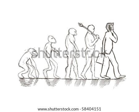 Vector illustration. Evolution from monkey to businessman. - stock vector
