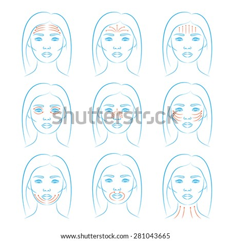 Vector illustration: face massage instruction for all face parts demonstrated on beautiful asian woman - blue sketch - stock vector
