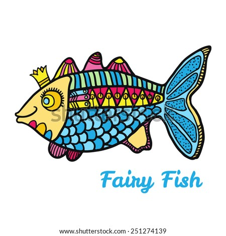 Vector Illustration. Fairy tale character. Fairy fish - stock vector