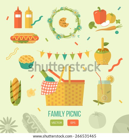 Vector illustration family picnic. Summer, spring barbecue and picnic icons set. Flat style. Snacks, vegetables, healthy food. Party items, decorations. Romantic dinner, lunch for lovers outdoors. - stock vector