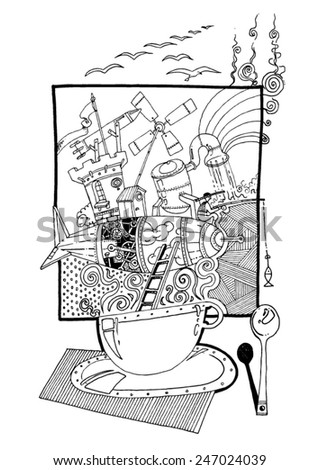 vector - illustration fantasy landscape in a cup of coffee, wind mill, tower, zeppelin, man fishing - stock vector