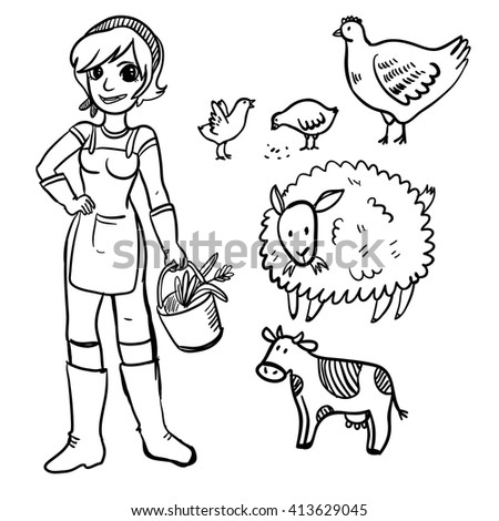 Vector illustration farm set with farmer girl, hen, chicken, sheep and cow. Cute doodle farm set. Wonderful handy drawn farm animals and farmer on white background. - stock vector