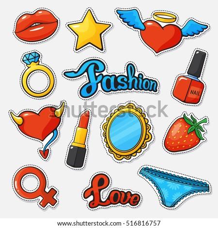 Vector Illustration Fashion Set Badges Lip Stock Vector 516816757