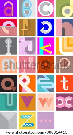 Vector illustration featuring the letters of the alphabet. Abstract art font. - stock vector