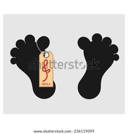 vector illustration - Feet dead man's with a symbol Ebola virus - stock vector