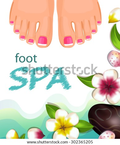 Vector illustration female feet with pink nails, flowers and water. - stock vector