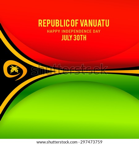 "Vector illustration festive banner with stylized flag of The Vanuatu and an inscription ""Republic of Vanuatu Happy Independence Day July 30th"""