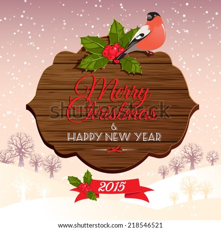 vector illustration festive wooden Christmas and new year's signboard - stock vector