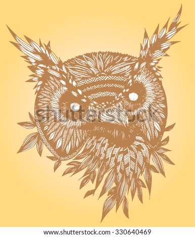 Vector illustration, figurative artline, owl head, neutral tones, card concept - stock vector