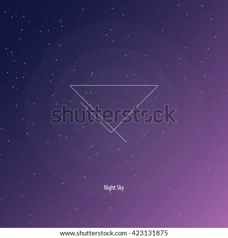 Vector illustration. Figure: triangle with incomplete lines. Modern logo design with mathematical and geometrical features. Space purple background