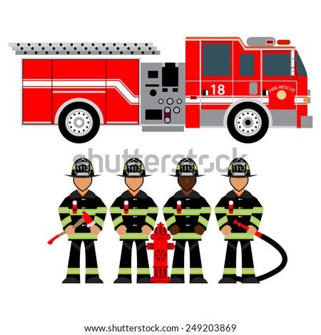 Vector illustration fire truck and fireman - stock vector