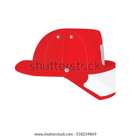 Vector illustration firefighter helmet with protective glass. Red fireman hat icon  - stock vector
