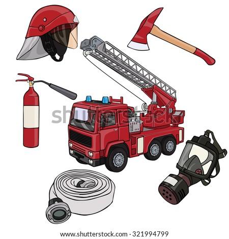 Vector illustration, fireman gear, cartoon concept, white background. - stock vector
