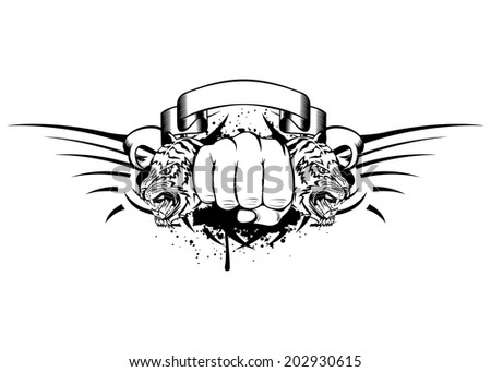 Vector illustration fist and two tigers  heads  - stock vector