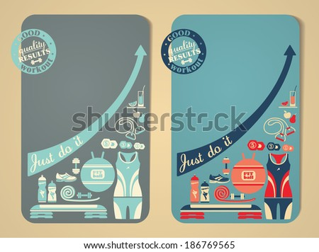 Vector illustration. Fitness banners. - stock vector