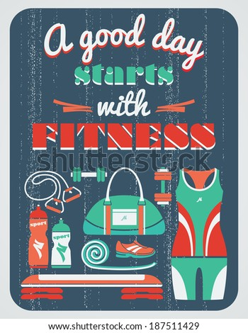 Vector illustration. Fitness vintage poster.  - stock vector