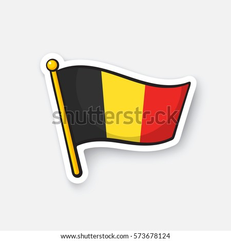 Flag of belgium on flagstaff location symbol for travelers cartoon sticker