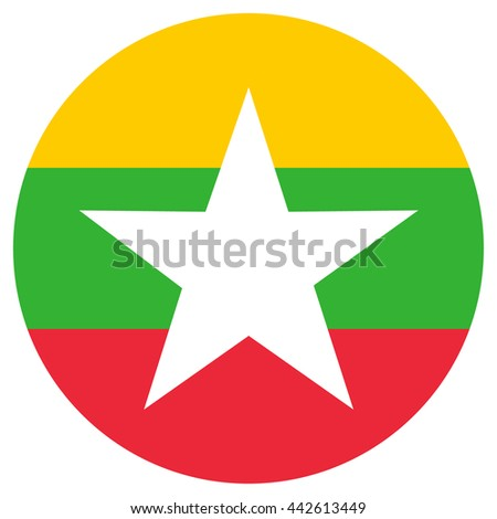 Vector illustration flag of Myanmar icon. Round national flag of Myanmar. - stock vector
