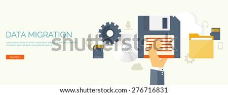 Vector illustration. Flat background. Computing, cloud technology. Data migration.  - stock vector