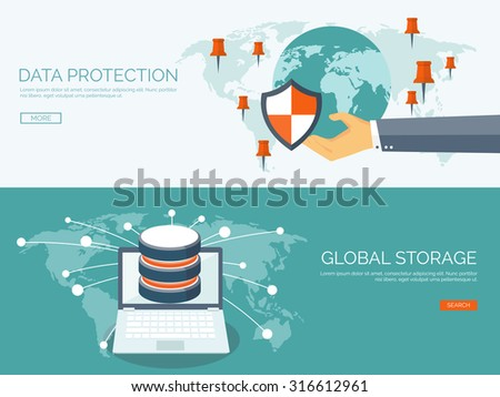 Vector illustration. Flat background. Database, server. Information transfer and protection. Global storage. Security.  - stock vector