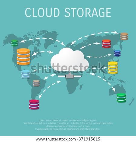 Vector illustration - Flat background - Database - server - information transfer - Global storage - stock vector