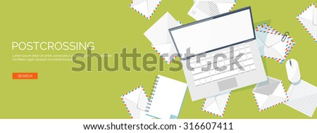 Vector illustration. Flat background. Envelope, laptop. International communication. Business correspondence and private messages. Express delivery. Postal services. Chatting. - stock vector