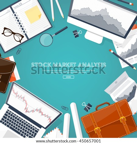 Vector illustration. Flat background. Market trade. Trading platform ,account. Moneymaking,business. Analysis. Investing. - stock vector