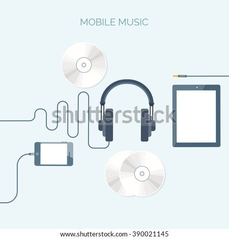 Vector illustration. Flat background. Music.production. Show business. Mp3, compact disk. Voice recording. Karaoke. Audio store. - stock vector