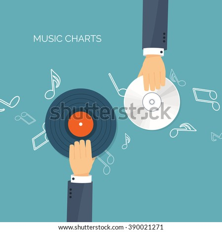 Vector illustration. Flat background. Music.production. Show business. Mp3, compact disk. Voice recording. Karaoke. Audio store.