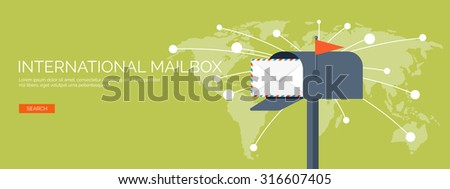 Vector illustration. Flat background. Postbox and world map. Envelope. International communication. Business correspondence and private messages. Express delivery. Postal services. Chatting. - stock vector