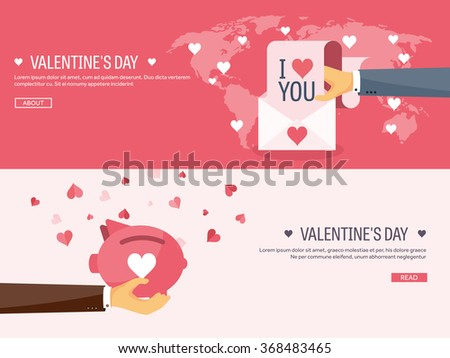 Vector illustration. Flat background with envelope and piggy bank. Love, hearts. Valentines day. Be my valentine. 14 february.  Message. - stock vector