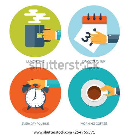 Vector illustration. Flat background with hand, alarm and morning tea or coffee. Everyday routine. Working. Daily plan. - stock vector