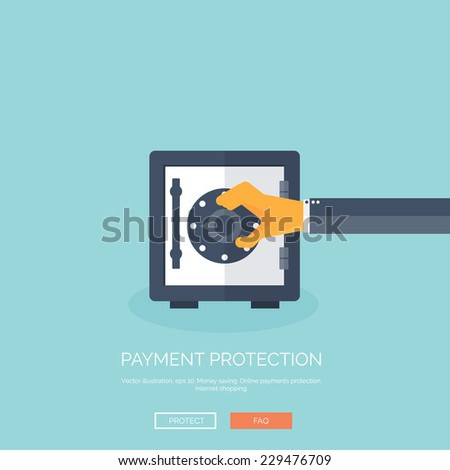 Vector illustration. Flat background with hand and bank deposit. Save money. Online shopping.  Money making. - stock vector