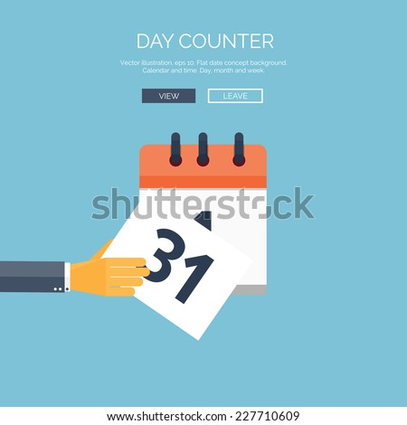 Vector illustration. Flat background with hand and calendar. Time and date. 31 december. New year. - stock vector