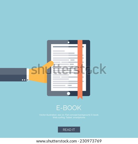 Vector illustration. Flat background with hand and e-book  - stock vector