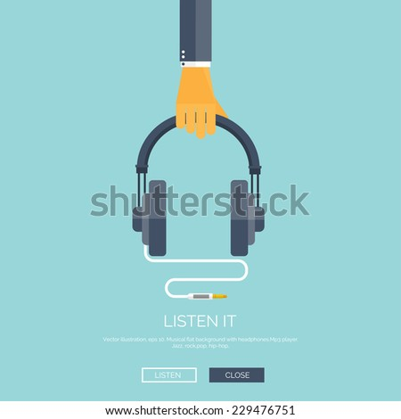 Vector illustration. Flat background with hand and headphones. Music, mp3. Audio concept background. - stock vector