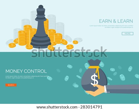 Vector illustration. Flat background with hand and money bag. Money making. Bank deposit.  Financials. - stock vector