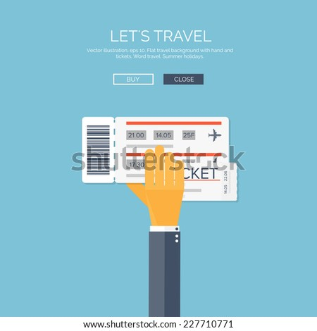 Vector illustration. Flat background with hand and tickets. Travel by plane. - stock vector