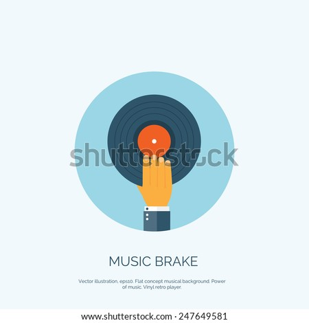 Vector illustration. Flat background with hand and vinyl. Music. - stock vector