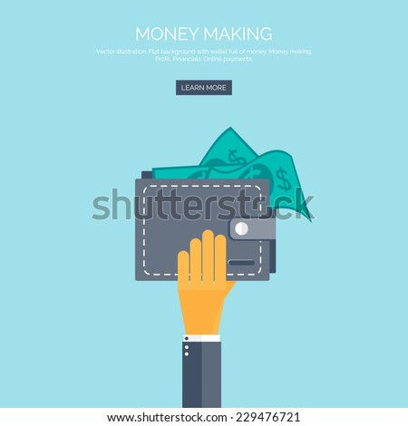 Vector illustration. Flat background with hand and wallet full of money. Online shopping. Pay per click. Money making. - stock vector