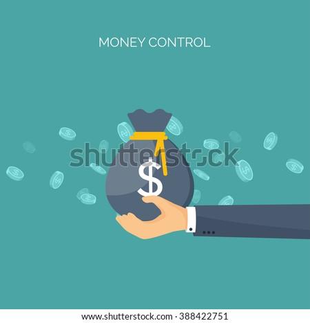 Vector illustration. Flat background with, money bag. Money making. Bank deposit.  Financials. - stock vector