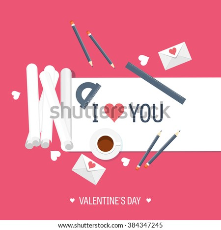 Vector illustration. Flat background with paper, envelope. Love, hearts. Valentines day. Be my valentine. 14 february.  - stock vector