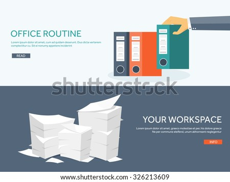 Vector illustration. Flat background with papers. paperwork and office routine, documents. Workspace. Hand with folders. - stock vector