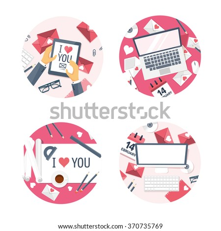 Vector illustration. Flat background with tablet, laptop, paper, envelope, computer, internet. Love, hearts. Valentines day. Be my valentine. 14 february.  - stock vector