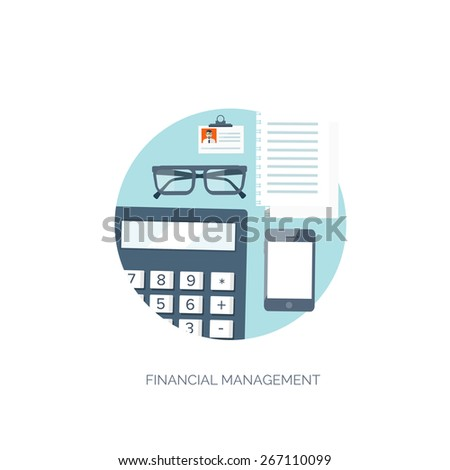 Vector illustration. Flat background. Workplace. Calculator, glasses, smartphone and papers. Documents and finance. Job center. Business analytics. - stock vector