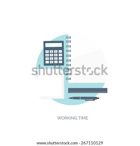 Vector illustration. Flat background. Workplace. Calculator, ruler, pencil and documentation. Financial statement and business documents. - stock vector