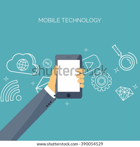 Vector illustration. Flat backgrounds set. Data transfer. Cloud computing, mobile technology. Internet, network. - stock vector