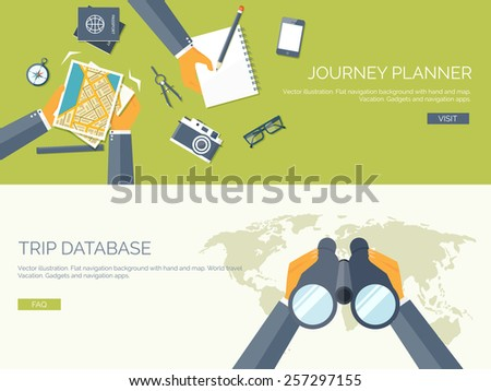Vector illustration. Flat backgrounds set. Navigation and travelling.  Map pointer and location finding. Web application. - stock vector