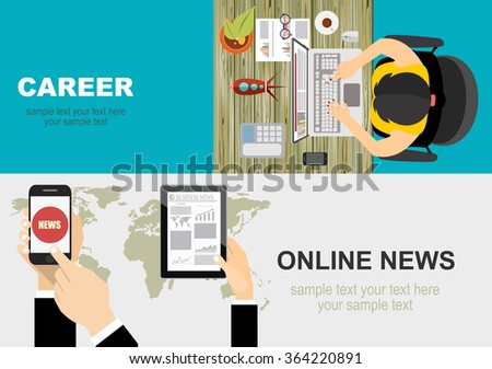 Vector illustration. Flat backgrounds set. Online news. Newsletter and information. Business and market news. business analysis and planning, consulting.Concepts web banner and printed materials. - stock vector